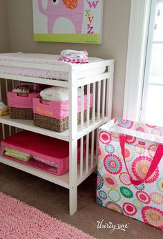 A Room for Two Utility Tote, two Your Way   Rectangle Baskets with liners and our new Perfect fit Organizer makes the   perfect nursery solution!