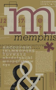 Memphis specimen sheet - Ada Thomas ||The poster has a very vintage look to it. I like how the bold character acts as the shadow. It's a nice play on the typeface.