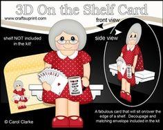 3D On The Shelf Card Kit - Card Player Vilma Enjoys A Rubber Of Bridge