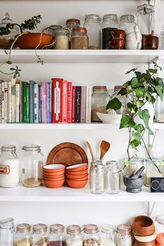 Store cookbooks and plants on your kitchen shelves.