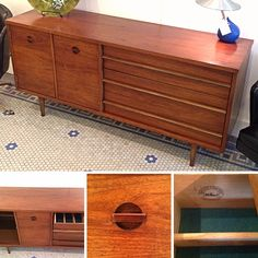 #MidCenturyModern #Walnut #Buffet / #Credenza Cabinet by #Bassett c.1960's. Please click link below for pricing and details.  | Rocket Century  - St. Louis, MO