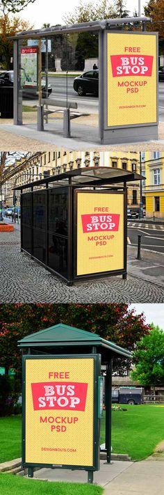 Bus Stop Outdoor Billboard Mockup