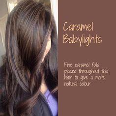 Caramel Babylights on Dark Brown Hair Hair Color And Cut, Brown Hair Colors, Gorgeous Hair Color, Hair Color Highlights, Brunette Hair, Great Hair, Hair Today, Hair Dos, Fall Hair