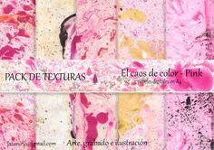 Pack de texturas - El caos de color - Pink de Arte, Grabado e Ilustración por DaWanda.com