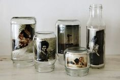 pot en verre = cadre photo old jars = photo frames Mason Jars, Bottles And Jars, Glass Bottles, Glass Canisters, Pots Mason, Soda Bottles, Baby Food Jars, Food Baby, Baby Food Jar Craft Ideas