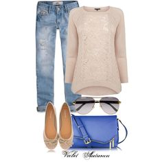 Lace Sweater & Flats, created by katie-violetautumn on Polyvore