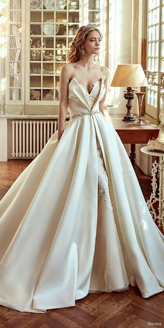 nicole spose bridal 2017 strapless sweetheart ball gown wedding dress (niab17088) mv