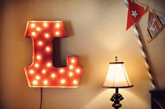 urban outfitters letter lamp Vintage Circus Themed Nursery