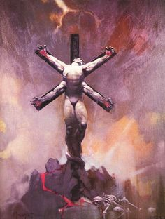 """The Fantasy Illustration Art of Frank Frazetta, here """"Alien Crucifixion"""", 1972, for a National Lampoon cover"""