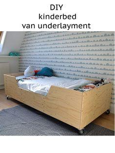 DIY bed van underlayment. Je vindt de bouwtekening op - bij boef+mop