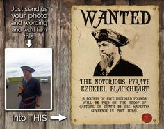 Personalised Pirate Wanted Poster / Personalised Steampunk Wanted Poster - pinned by pin4etsy.com