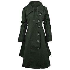 FNKDOR Chaudes Femmes Manteau Slim fit Trench-Coat Capuche Veste /Épaise Manches Longues avec Ourlet Asym/étrique Cosplay Parka Automne Hiver