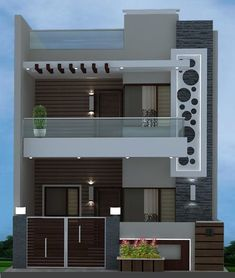 44+ new ideas house plans duplex front elevation Bungalow House Design, House Front Design, Small House Design, Modern House Design, Front Gate Design, Modern Exterior House Designs, Entrance Design, Modern Houses, Tiny Houses