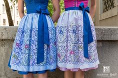 Susanne Spatt - Linen apron, original woodblock handprinting (DKS14506-O), Organza apron white, original woodblock handprinting (DKS14503-K) Linen Apron, Salzburg, Couture, High Waisted Skirt, Girly, Skirts, Fabric, Pink, Jackets