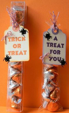 Helen used some of our Biggie Candy Chutes and Spooktactular Trendy Twine for these fun treats. Halloween Treat Boxes, Halloween Favors, Easy Halloween Crafts, Halloween Tags, Halloween Party Decor, Punny Halloween Costumes, Halloween Themed Food, Halloween Activities, Halloween 2020