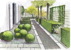 Aranżacja zieleni planting design mimari tasarım, mimari и peyzaj mimarisi. Landscape Architecture Drawing, Landscape Sketch, Landscape Drawings, Landscape Plans, Garden Design Plans, Garden Landscape Design, Garden Landscaping, Landscape Designs, Gardening Courses