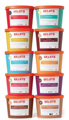 Gelato Tub Packaging designed by Bureau of Betterment.