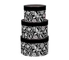 Black And White Damask Storage Boxes For My Craft Room. Big Print, All  Shapes