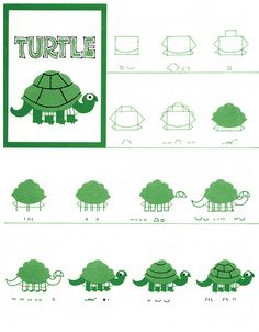 ed emberley book of animals - turtle Drawing Techniques, Drawing Tips, Drawing Reference, Drawing For Kids, Drawing Ideas, Arts Ed, Step By Step Drawing, Art School, School Stuff