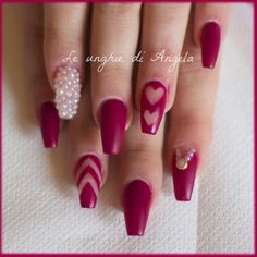 Ballerina gel nails with negative romantic nail art and pearls