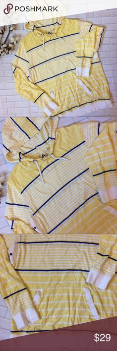 Urban Outfitters Feathers Striped Jersey Hoodie L Like new, Urban Outfitters Feathers yellow, blue and white striped hooded pullover. Lightweight cotton fabric makes this perfect for year-round wear. Men's large, but could be a unisex piece. Smoke free home, fast ship. Urban Outfitters Shirts Sweatshirts & Hoodies