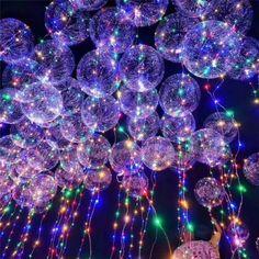 Light Up Balloons, Clear Balloons, Balloon Lights, Bubble Balloons, Colourful Balloons, String Lights, Air Balloon, Latex Balloons, Neon Lights Party