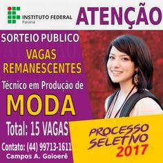Disponíveis o Edital de vagas do curso Técnico em Produção e Moda do Instituto Federal do Paraná