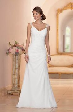 Cheap Classic Simple Sheath/Column Straps Lace Sweep/Brush Train Chiffon Wedding Dress Free Measurement