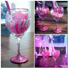 pink bachelorette party glitter wine glass party favors with