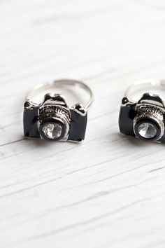 Black Camera Ring . Enameled . Adjustable . Adorable . LAST ONE