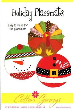 Pattern Placemats Turkey Santa And Snowman By Dorothy Prudie Fabrics Placemats Patterns Holiday Sewing Christmas Placemats