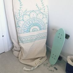 Boho artwork, by hand, surfboard bag