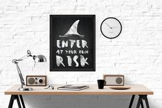 Shark Print, Enter at Your own Risk Wall Art, Chalkboard Printable Art, Chalk Print, Kids Room, INSTANT DOWNLOAD wp374 by dreamONprints on Etsy Bedroom Murals, Wall Murals, Wall Art, Printable Art, Chalkboard Printable, Chalkboard Ideas, Wall Paint Inspiration, Beautiful Wall, Pattern Paper