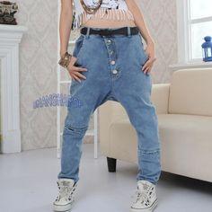 Women-Harem-Baggy-Jeans-Trousers-Button-Denim-Drop-Crotch-Pants-Distressed-Rip