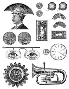Digital Victorian Line Art Illustrations Collage Sheet for Mixed Media, Steampunk Art in both JPEG and PNG files, CS13-194e