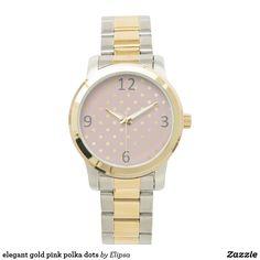 elegant gold pink polka dots wrist watches