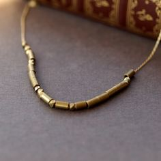Signal Love Morse Code Necklace I Love You Gold Brass Handmade Jewelry on Etsy, $42.00
