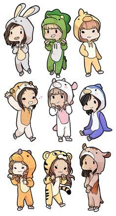 Twice Kigurumi Stickers by on DeviantArt Mini Drawings, Kpop Drawings, Cool Art Drawings, Easy Drawings, Cute Animal Drawings Kawaii, Cute Disney Drawings, Kawaii Doodles, Cute Doodles, Arte Copic