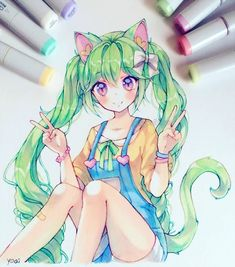 Manga Drawing Ideas Emmy~ I learned the hard way not to try and remove gel nail polish by peeling/chipping it without soaking first, now my nails are severely damaged ಥ_ಥ Copic Drawings, Anime Drawings Sketches, Anime Sketch, Kawaii Drawings, Cartoon Drawings, Cartoon Art, Cute Drawings, Art Anime Fille, Anime Art Girl