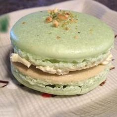Macaron (French Macaroon)  Ingredients   Original recipe makes 16    3 egg whites   1/4 cup white sugar   1 2/3 cups confectioners' sugar   1 cup finely ground almonds