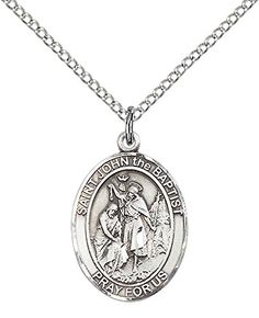 Sterling Silver St John the Baptist Pendant with 18 Sterling Silver Lite Curb Chain Patron Saint of Auto RoutesRoad Workers -- Continue to the product at the image link.Note:It is affiliate link to Amazon.