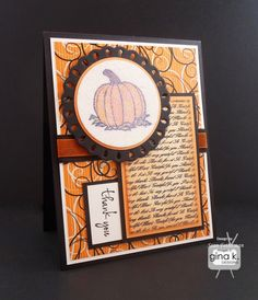 """Thank You"" card that made the following Gina K Designs supplies:  - ""Autumn Splendor"" stamp set by Gina K Designs. - Gina K Designs Pure Luxury card stock in 80 lb Layering Weight White, Black Onyx and Sweet Mango. - Gina K Designs Pure Luxury 6X6 Spooktacular You Patterned Paper Pack. - Gina K Designs Pure Luxury Color Collections Premium Dye Ink in Black Onyx and Sweet Mango. - Gina K Designs Pure Luxury Color Collections ribbon in 5/8"" grosgrain Black Onyx and 3/8"" organza in Sweet Mango..."