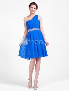 Una línea de un hombro hasta la rodilla vestido de dama de honor - EUR € 82.49