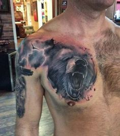 The most common bear tattoo models and the meanings of the bear used as symbols in different cultures throughout history. The bear, one of the most powerf Chest Piece Tattoos, Chest Tattoo, Arm Band Tattoo, Bear Claw Tattoo, Lion Tattoo, Tattoos To Cover Scars, Cover Tattoo, Armband Tattoo Design, Tattoo Designs