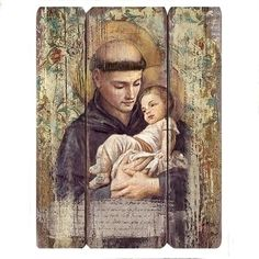 Anthony panel artwork with peaceful color paletteVintage style design for today's Catholic home Catholic Relics, Catholic Gifts, Catholic Art, Religious Gifts, Religious Images, Religious Icons, Religious Art, Saint Anthony Of Padua, Old Time Religion