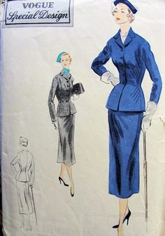 1950s FITTED SUIT PATTERN FLATTERING  DIAGONAL DARTS VOGUE SPECIAL DESIGN PATTERNS 4368