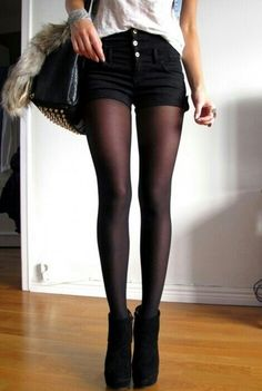 Tights and shorts - I WISH I could pull this off!