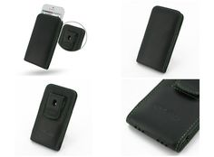 PDair Leather Case for Apple iPhone 5 - Vertical Pouch Type Belt Clip Included (Black/Green Stitchings)