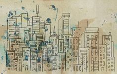 Sketch of buildings in a city that doesn't exist Art Print