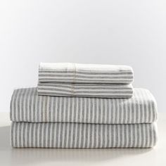 As soft as your favorite tee and in a classic stripe pattern, this sheet set will turn your bed into your favorite place. Woven of recycled cotton jersey, this sheeting is eco-friendly and cozily lightweight. This bedding is STANDARD 100 by OEKO-T… Striped Bedding, Grey Bedding, Vintage Sports Nursery, Sleep Inspiration, Grey Sheets, Pbteen, Sheet Sets, Recycling, Nightstands